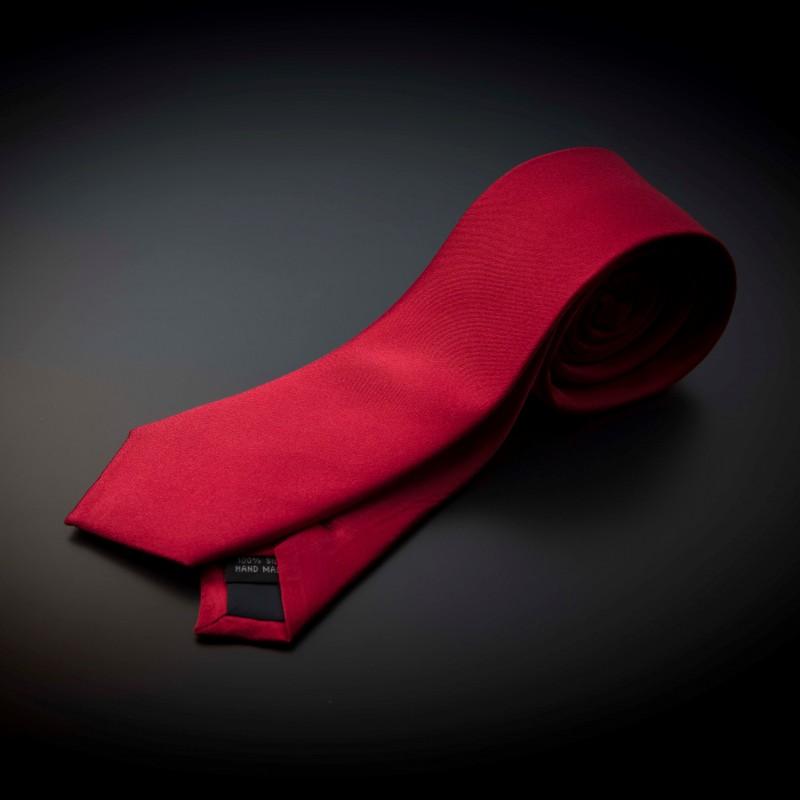Cravate homme pure soie - couleur unie rouge