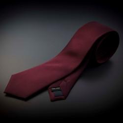 Cravate homme pure soie - couleur unie bordeau