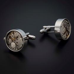 """Boutons de manchettes """"mouvement de montre"""" -  acier inoxydable & laiton plaqué rhodium - couleur argent"""