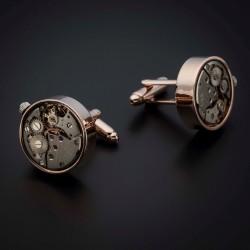 """Boutons de manchettes """"mouvement de montre"""" -  acier inoxydable & laiton plaqué rhodium - couleur or & acier"""