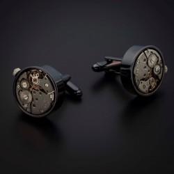 """Boutons de manchettes """"mouvement de montre"""" -  acier inoxydable & laiton plaqué rhodium - couleur anthracite & acier"""