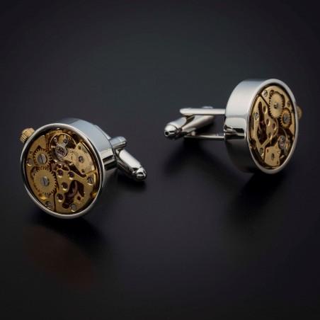 """Boutons de manchettes """"mouvement de montre"""" -  acier inoxydable & laiton plaqué rhodium - couleur acier chromé & or"""