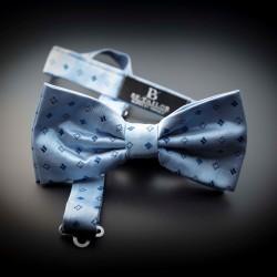 Noeud papillon homme pure soie - bleu clair à motifs bleu foncé
