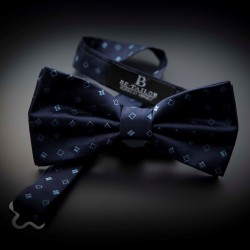 Noeud papillon homme pure soie - bleu foncé à motifs bleu clair