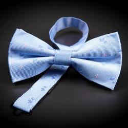 Noeud papillon homme pure soie - bleu clair à motifs petits chiens
