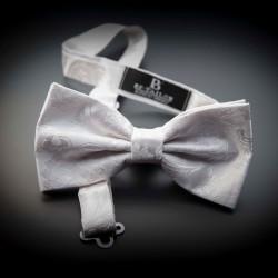Noeud papillon homme mariage pure soie - blanc à motifs blanc