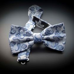 Noeud papillon homme mariage pure soie - gris argenté à motifs bleu