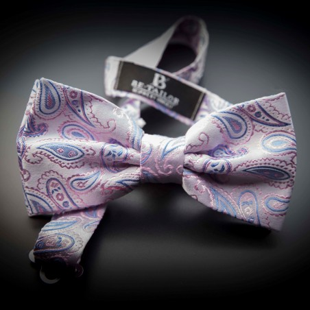 Noeud papillon homme mariage pure soie - rose à motifs Paisley bleu clair