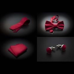 Set cravate, noeud papillon, pochette & boutons de manchettes - couleur unie rouge