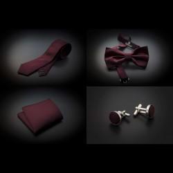 Set cravate, noeud papillon, pochette & boutons de manchettes - couleur unie bordeau