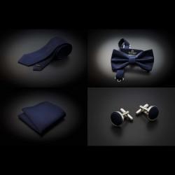 Set cravate, noeud papillon, pochette & boutons de manchettes - couleur unie bleu foncé