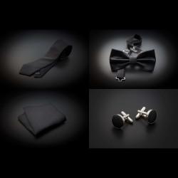 Set cravate, noeud papillon, pochette & boutons de manchettes - couleur unie gris foncé (anthracite)