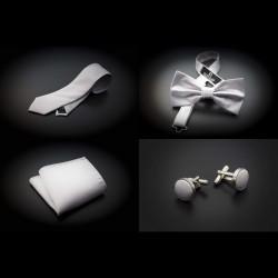 Set cravate, noeud papillon, pochette & boutons de manchettes - couleur unie blanc