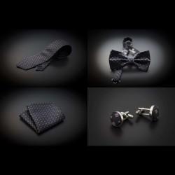 Set cravate, noeud papillon, pochette & boutons de manchettes - gris foncé à motifs rose et argenté