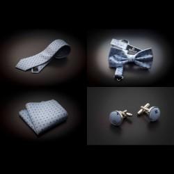 Set cravate, noeud papillon, pochette & boutons de manchettes - bleu clair à motifs bleu foncé