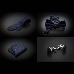 Set cravate, noeud papillon, pochette & boutons de manchettes - bleu foncé à motifs bleu clair