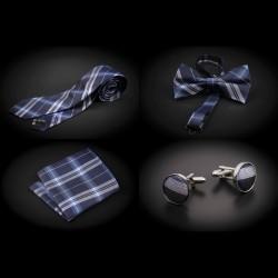 Set cravate, noeud papillon, pochette & boutons de manchettes - bleu à carreaux