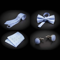 Set cravate, noeud papillon, pochette & boutons de manchettes - bleu clair à motifs petits chiens
