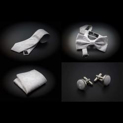 Set mariage cravate, noeud papillon, pochette & boutons de manchettes - blanc à motifs Paisley blancs