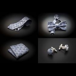 Set mariage cravate, noeud papillon, pochette & boutons de manchettes - gris argenté à motifs Paisley bleu