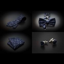 Set mariage cravate, noeud papillon, pochette & boutons de manchettes - bleu foncé à motifs Paisley bleu clair