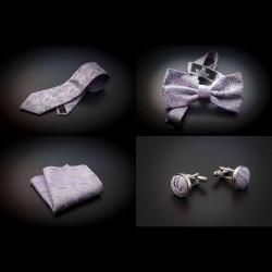 Set mariage cravate, noeud papillon, pochette & boutons de manchettes - rose à motifs Paisley bleu