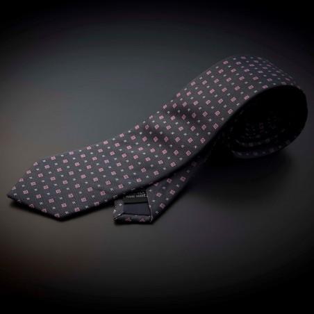Cravate homme pure soie - gris foncé (anthracite) à motifs rose et argenté