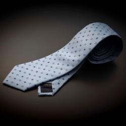 Cravate homme pure soie - bleu clair à motifs bleu foncé