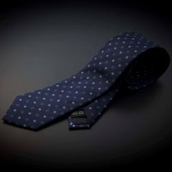 Cravate homme pure soie - bleu foncé à motifs bleu clairs