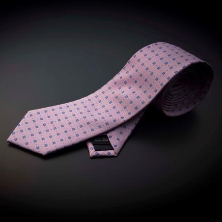 Cravate homme pure soie - rose à motifs bleu
