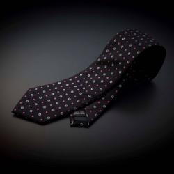 Cravate homme pure soie - aubergine à motifs rose & argenté