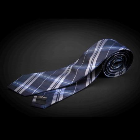 Cravate homme pure soie - bleu à carreaux