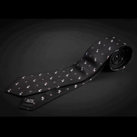 Cravate homme pure soie - noir à motifs petits chiens