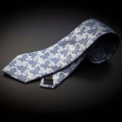 Cravate homme mariage pure soie - gris argenté à motifs bleu