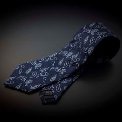 Cravate homme mariage pure soie - bleu foncé à motifs Paisley bleu clair