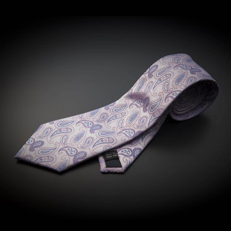 Cravate homme mariage pure soie - rose à motifs Paisley bleu clair