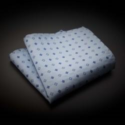Pochette pure soie - bleu clair à motifs bleu foncé