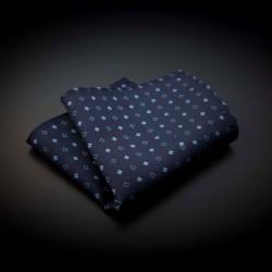 Pochette pure soie - bleu foncé à motifs bleu clairs