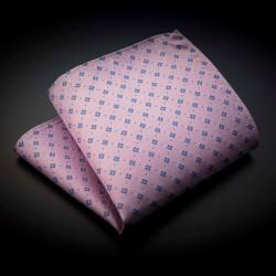Pochette pure soie - rose à motifs bleu