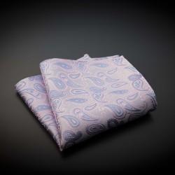 Pochette mariage pure soie - rose à motifs Paisley bleu clair
