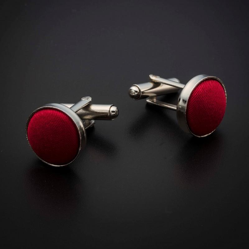 Boutons de manchettes acier & soie - couleur tissu uni rouge