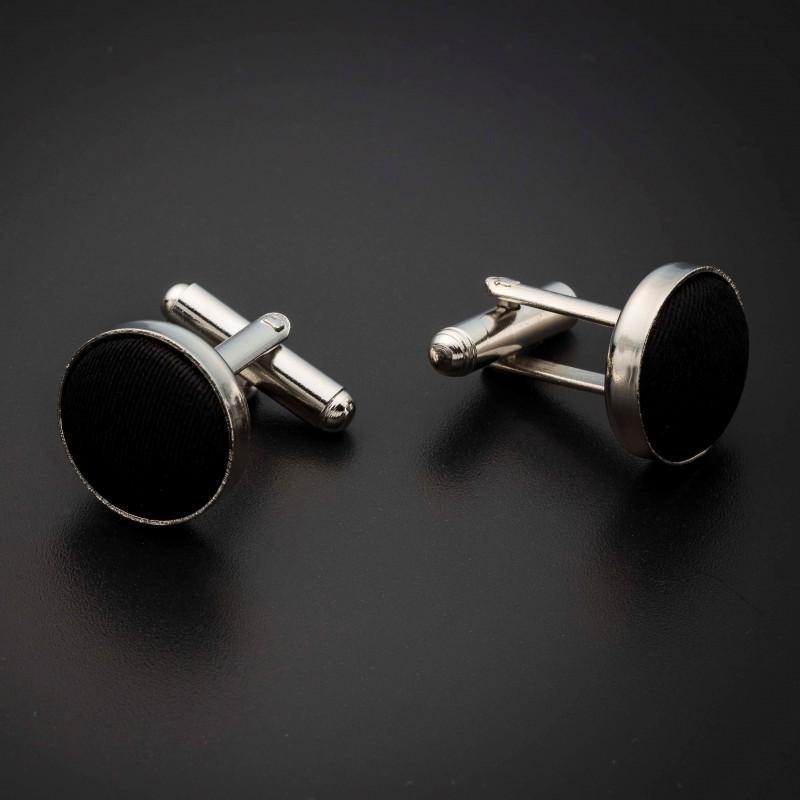 Boutons de manchettes acier & soie - couleur tissu uni noir