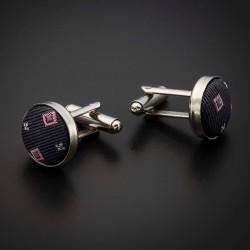 Boutons de manchettes acier & soie - tissu couleur gris foncé (anthracite) à motifs rose et argenté