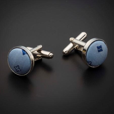 Boutons de manchettes acier & soie - tissu couleur bleu clair à motifs bleu foncé