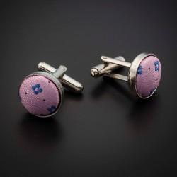 Boutons de manchettes acier & soie - tissu couleur rose à motifs bleu