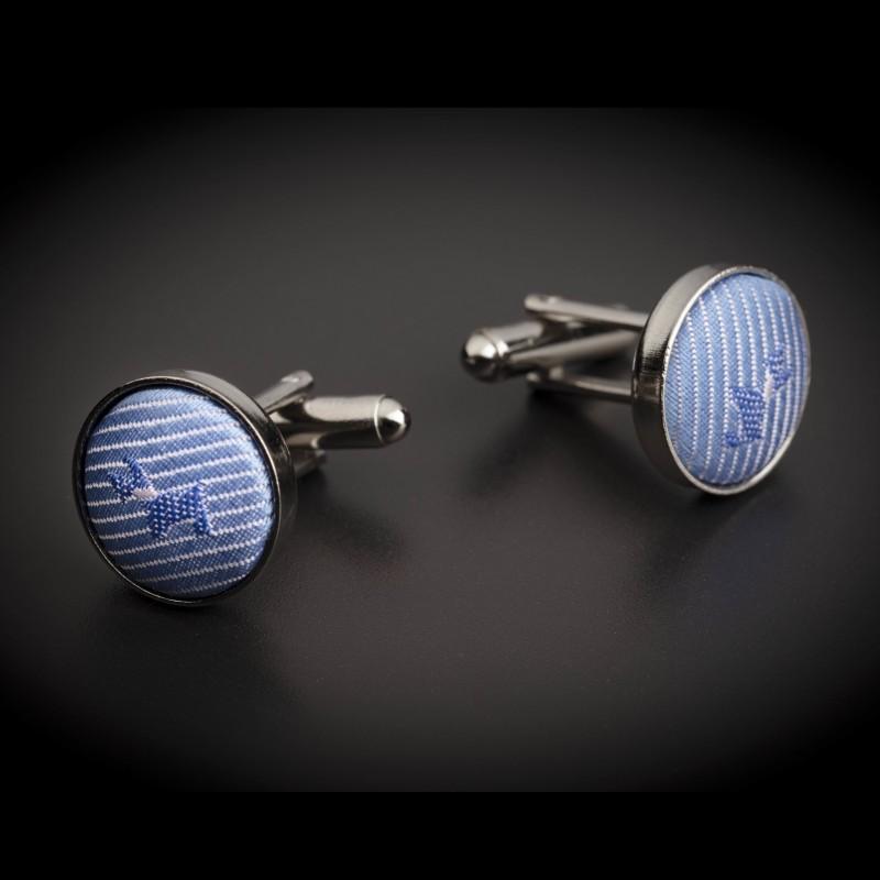 Boutons de manchettes acier & soie - tissu couleur bleu clair à motifs petits chiens