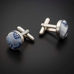 Boutons de manchettes acier & soie - tissu couleur gris argenté à motifs Paisley bleu