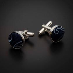 Boutons de manchettes acier & soie - tissu couleur bleu foncé à motifs Paisley bleu clair