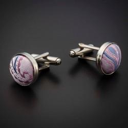 Boutons de manchettes acier & soie - tissu couleur rose à motifs Paisley bleu