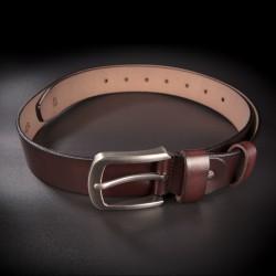 """Ceinture """"casual"""" homme - 4,0x130cm - cuir véritable - couleur brun foncé"""